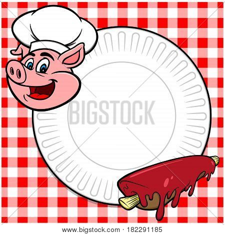 A vector illustration of a BBQ cookout invite.