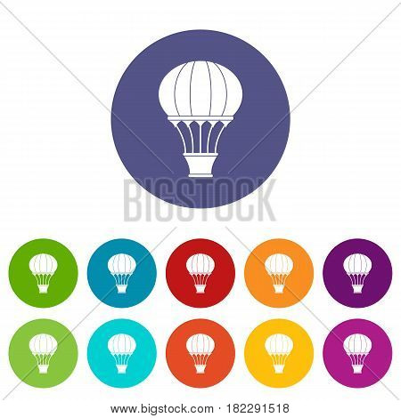 Old fashioned helium balloon with basket icons set in circle isolated flat vector illustration