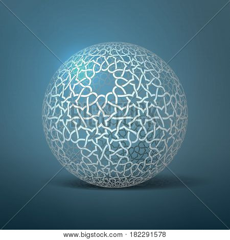 Vector abstract geometric sphere. Based on ethnic ornaments. Intertwined paper stripes.