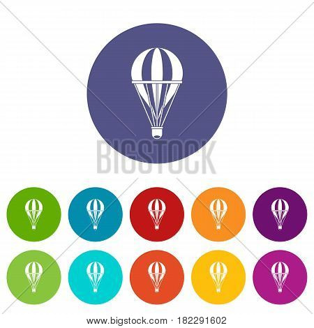Air balloon journey icons set in circle isolated flat vector illustration
