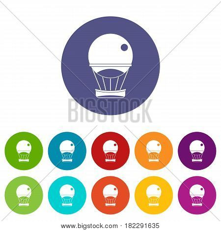 Hot air striped balloon icons set in circle isolated flat vector illustration