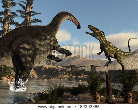 Torvosaurus dinosaur fighting against apatosaurus by day - 3D render