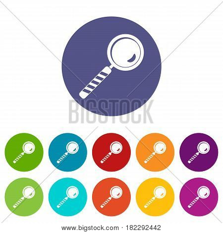 Magnifying glass icons set in circle isolated flat vector illustration