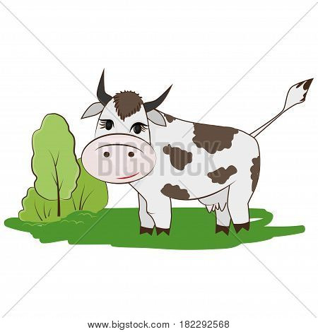 Cartoon cow on the meadow and next tree with bushes