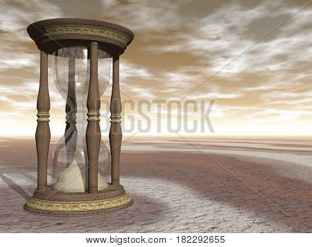 Wooden hourglass by brown sunset - 3D render