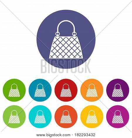 Backpack icons set in circle isolated flat vector illustration