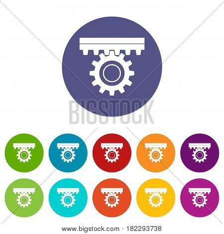 One gear icons set in circle isolated flat vector illustration