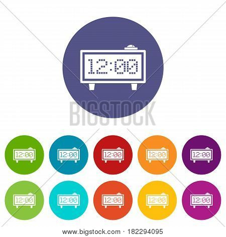 Alarm clock icons set in circle isolated flat vector illustration