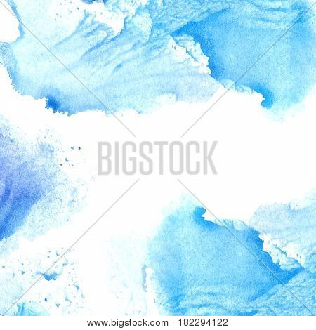 Blue and violet watery frame .Abstract watercolor hand drawn illustration. Azure splash.White background.