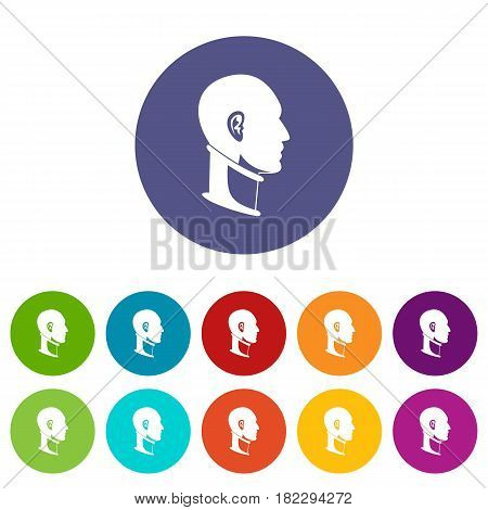 Medical drill icons set in circle isolated flat vector illustration