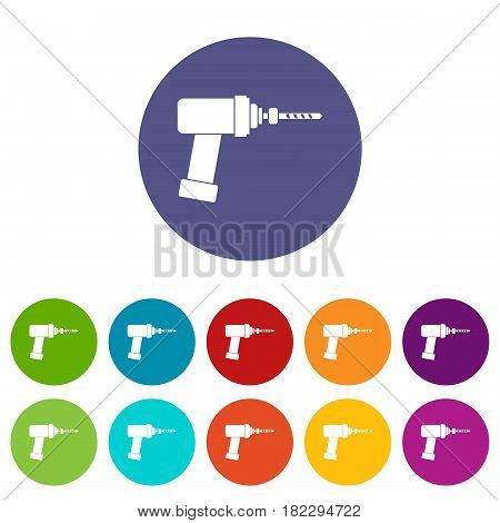 Reflex hammer icons set in circle isolated flat vector illustration