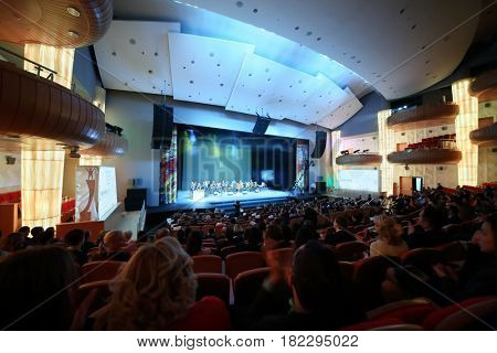 MOSCOW - OCT 25, 2016: Concert and viewers during ceremony Top 1000 Russian Managers awards in Moscow State Music Theatre of Russian folk song