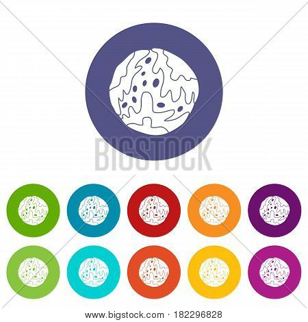 Mars icons set in circle isolated flat vector illustration