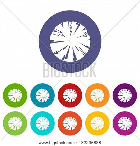 Dangerous planet icons set in circle isolated flat vector illustration