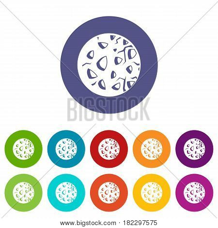 Striped planet icons set in circle isolated flat vector illustration