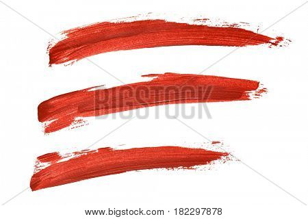 Set of red paint lines isolated on the white background