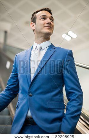Businessman on elevator