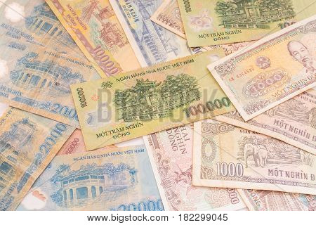 Currency top view background of Vietnamese banknote