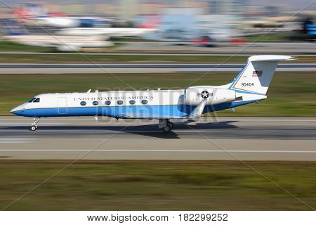 ISTANBUL, TURKEY - MARCH 19, 2014: Gulfstream Aerospace C-37A of US air force taking off at Ataturk international airport.