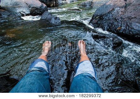 Take a foot soak the waterfall to relax the muscles.