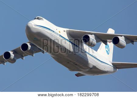 ZHUKOVSKY, MOSCOW REGION, RUSSIA - AUGUST 10, 2012: Antonov An-124 Ruslan shown at 100 years anniversary of Russian Air Forces in Zhukovsky.