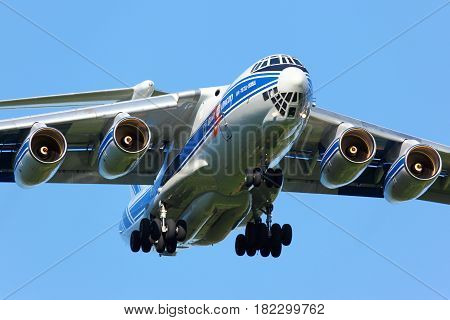 SHEREMETYEVO, MOSCOW REGION, RUSSIA - SEPTEMBER 23, 20114: Ilyushin IL-76TD-90 landing at Sheremetyevo international airport.