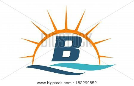 Wave Sunset Beach Water Pool Initial B