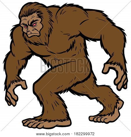 A vector illustration of the legendary Bigfoot.