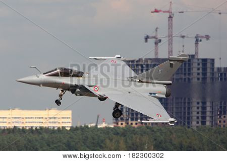 ZHUKOVSKY, MOSCOW REGION, RUSSIA - AUGUST 10, 2012: Dassault Rafale shown at 100 years anniversary of Russian Air Forces in Zhukovsky.