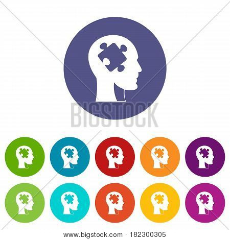 Head with puzzle icons set in circle isolated flat vector illustration