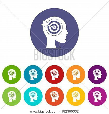 Target in human head icons set in circle isolated flat vector illustration