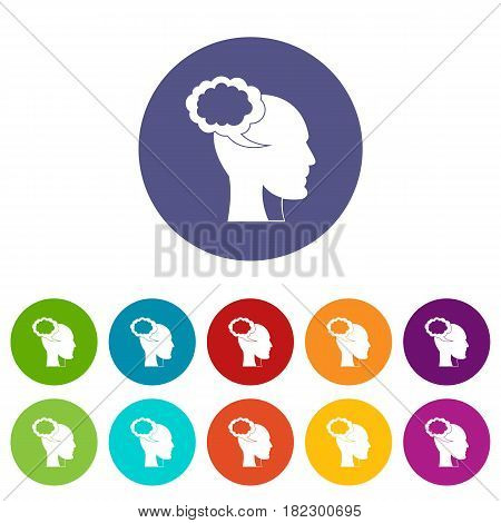 Head with queen and pawn chess icons set in circle isolated flat vector illustration