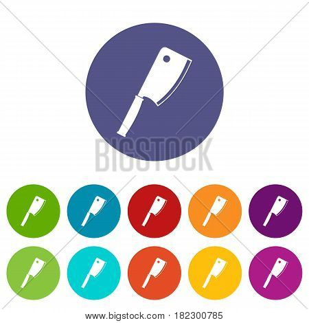 Meat knife icons set in circle isolated flat vector illustration