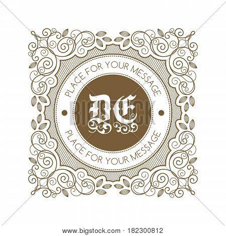 Monogram template with decorative calligraphic ornament frame. Luxury label in retro style. Vector Illustration