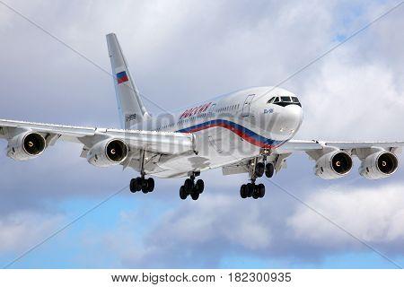 VNUKOVO, MOSCOW REGION, RUSSIA - MARCH 10, 2013: Ilyushin IL-96-300 RA-96018 of President's special flight unit landing at Vnukovo international airport.
