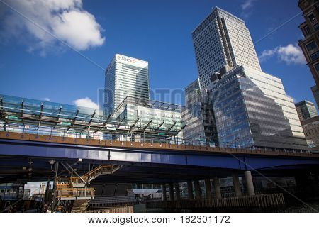 LONDON, UK - APRIL, 2017: Buildings of Canary Wharf as seen from street level. Canary Wharf is a major business district located in Tower Hamlets, London.