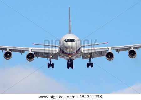 VNUKOVO, MOSCOW REGION, RUSSIA - MARCH 10, 2013: Ilyushin IL-96-300 RA-96018 of President's special flight unit landing at Vnukovo international airport.