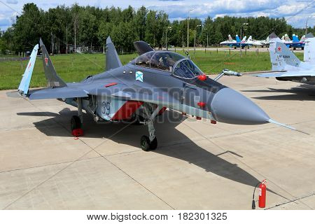 KUBINKA, MOSCOW REGION, RUSSIA - JUNE 17, 2015: Naval MiG-29K 39 BLUE standing at Kubinka air force base during Army-2015 forum
