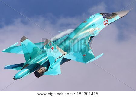 ZHUKOVSKY, MOSCOW REGION, RUSSIA - AUGUST 11, 2012: Sukhoi Su-34 of Russian Air Force shown at 100 years anniversary of Russian Air Forces in Zhukovsky.