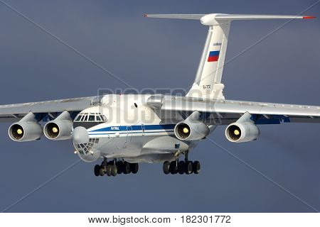 KUBINKA, MOSCOW REGION, RUSSIA - FEBRUARY 24, 2014: Ilyushin IL-76MD of Russian Air Force landing at Kubinka air force base.