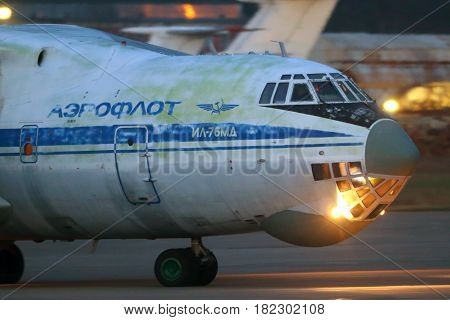 ZHUKOVSKY, MOSCOW REGION, RUSSIA - NOVEMBER 31, 2013: Ilyushin IL-76MD RA-78850 of russian air force standing at Zhukovsky.