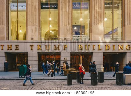New York City USA - March 20 2017: The Trump Building on Wall Street. In 1995 President Donald Trump bought the building that is now known as