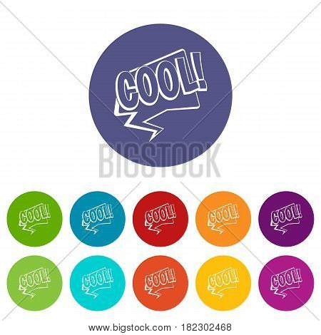 BOO, comic text speech bubble icons set in circle isolated flat vector illustration