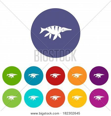 Aquatic dinosaur icons set in circle isolated flat vector illustration