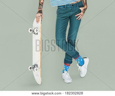 Tattoo Skater Holding Skateboard Extreme Sport Style