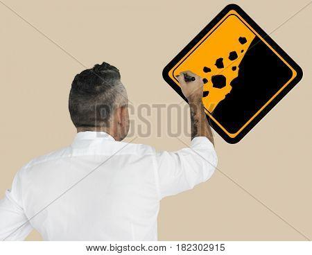 Studio Senior Man Shoot Rockfall Beware Sign Banner