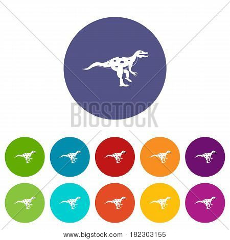 Gallimimus dinosaur icons set in circle isolated flat vector illustration