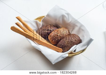 bread plate in the restaurant on a white background