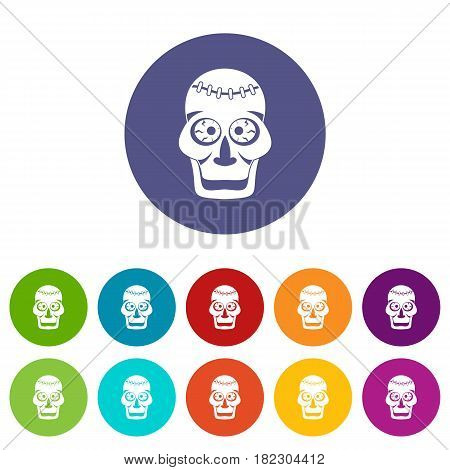 Skull icons set in circle isolated flat vector illustration