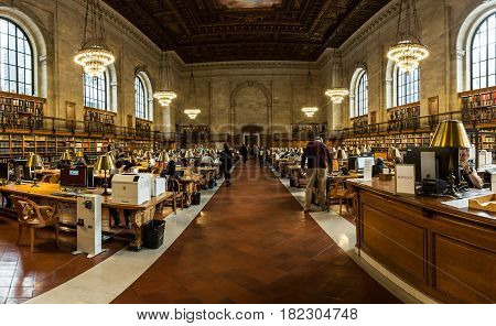 New York City USA- March 20 2017: Interior of famous NYC public library. With 53 million items the NYC Public Library is the second largest public library in the USA